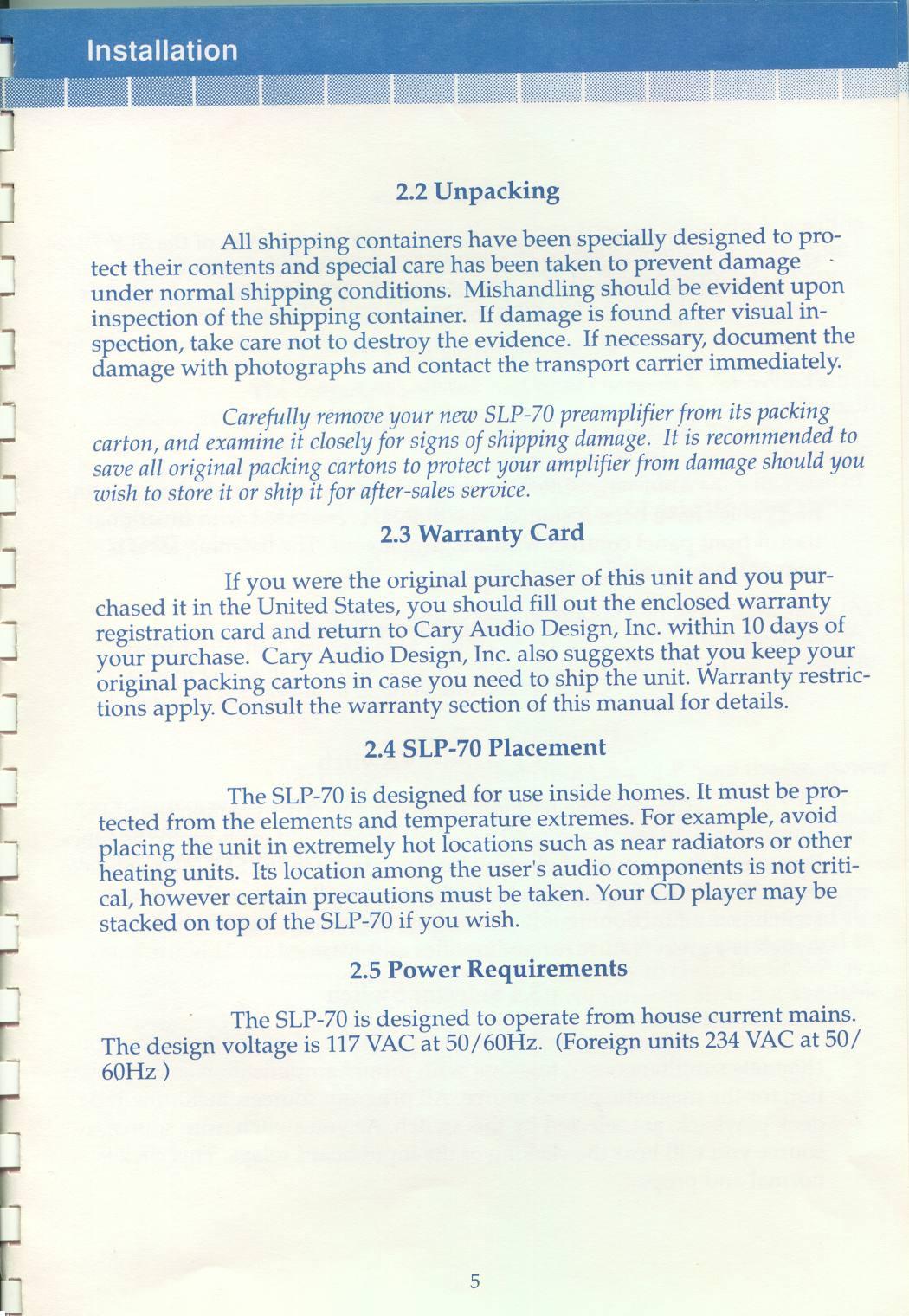 Cary Audio Design SLP W Phono Manual Reprint Mods - Audio design document
